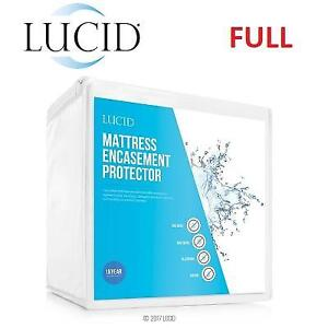 NEW LUCID MATTRESS PROTECTOR FULL LS0PFFEP 213971447 ENCASEMENT BED BUG PROOF WATERPROOF WHITE