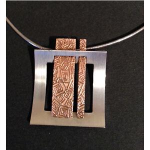 Vintage Modernist Breuning sterling necklace and pendant