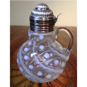 Victorian coin dot and opalescent swirl syrup pitcher with lid