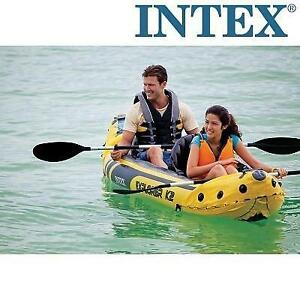 NEW INTEX EXLORER K2 KAYAK 68307EP 242519659 2 PERSON INFLATABLE KAYAK WITH ALUMINUM OARS AND HIGH OUTPUT AIR PUMP