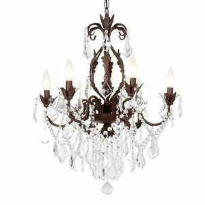 Heritage 6-Light Chandelier, Aged Iron Finish with Crystal Light