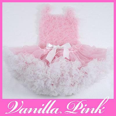 Custom Boutique PettiSkirt TuTu VANILLA PINK WHITE XMAS