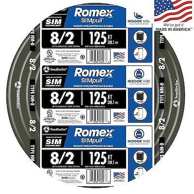 Southwire 8-2 Awg Gauge 125-ft 125 Electrical Copper Wire Ground Romex Cable