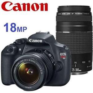 NEW OB CANON REBEL DSLR CAMERA 18MP - 132522113 - EOS 18MP W/ 18-55MM  75-300MM LENS DIGITAL PHOTOGRAPHY NEW OPEN BOX...