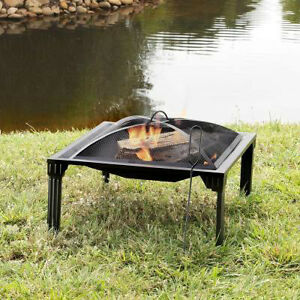 26 in Portable Firepit with Firewood