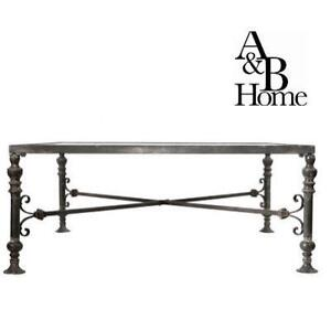 NEW A AND B COCKTAIL TABLE - 133661933 - GLASS TOP ANTIQUE FINISH