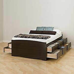 Tall Full Captain's Platform Storage Bed with 12 Drawers