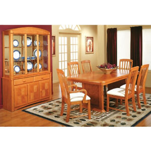 Lanton oak dining table with 6 chairs and China cabinet