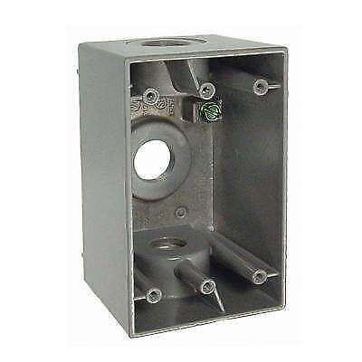 Bell 1-gang Gray Weatherproof Box With Three 12 In. Threaded Outlets