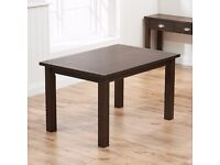 DARK BROWN STAINED SOLID OAK DINING TABLE