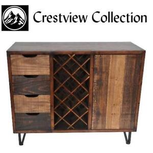 NEW* CRESTVIEW COLLECTION CABINET - 129272628 - RUSTIC WINE CABINET