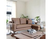 New Dwell Oslo Faux Leather Right Hand Corner Sofa in Tan Retail £1199!!!