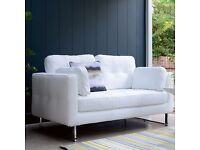 Dwell 2 seat leather sofa in White - Great condition