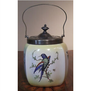 Yellow Biscuit Barrel With a Blue Bird