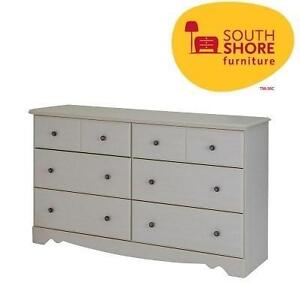 NEW* SS 6-DRAWER DOUBLE DRESSER SOUTH SHORE - COUNTRY POETRY - WHITE WASH - HOME - FURNITURE - BEDROOM 106377898