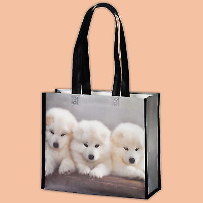 PACK OF 10 ECO NON WOVEN SHOPPING BAGS GREY PRINTERED DOGS REUSABLE 35x13/30cm