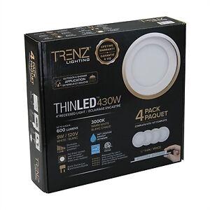 Trenz Thin LED Recessed Lighting - 4 pack