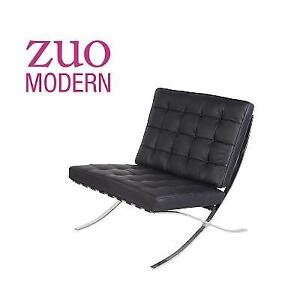 NEW ZUO PAVILION LEATHER CHAIR 8742354152 136928360 LEATHER WITH STAINLESS STEEL FRAME MODERN BARCELONA STYLE