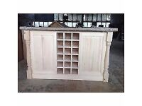 WOOD LIVING Solid Handmade Pine Island Unit with Traditional Turned Corner Profiles