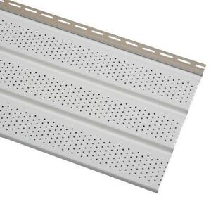 """23 Pieces of 16"""" Vinyl Perforated Soffit - White"""