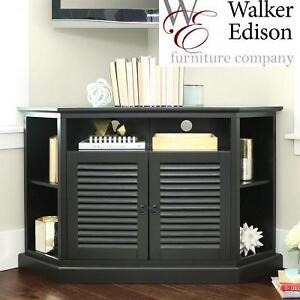 NEW WE BLACK WOOD CORNER TV STAND WALKER EDISON FURNITURE - WITH LOUVERED DOORS 101588097