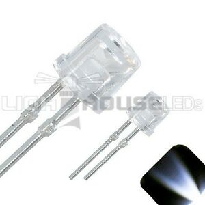 20-x-LED-3mm-Clear-Cool-White-Ultra-Bright-Flat-Top-Wide-Angle-LEDs-Light-Car