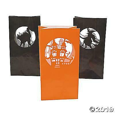 Paper Bag Halloween Luminaries (24 HALLOWEEN  Paper SILHOUETTE LUMINARY BAGS Party Decoration Pathway)