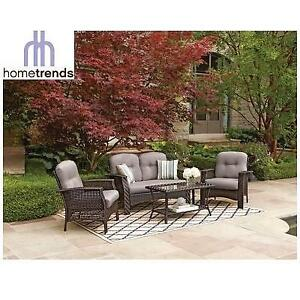 NEW* HOMETRENDS TUSCANY PATIO SET LG6601-4PC GY 137824846 CONVERSATION SET WITH GREY CUSHIONS