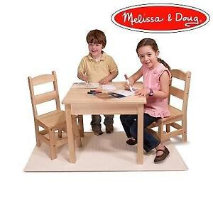 NEW CHILDREN'S TABLE/CHAIRS SET 742/0834 232827475 MELISSA AND DOUG NATURAL BROWN WOODEN