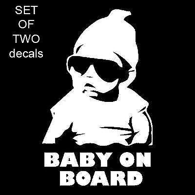 2X  BABY ON BOARD CARLOS FUNNY HANGOVER CAR TRUCK WINDOW STICKER VINYL DECAL