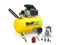 Wolf 100L Air Compressor 2.5HP 116psi 9.1CFM & 13pc Air Tool Kit - UNOPENED