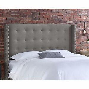 New, Queen Nail Button Tufted Headboard in Linen Grey with Pewter Nail Buttons *PickupOnly