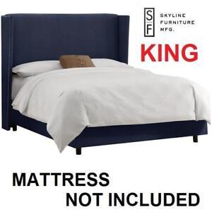 NEW SF KING VELVET NAVY BED FRAME - 129219973 - SKYLINE FURNITURE - LINEN NAIL BUTTON WINGBACK BEDS FRAMES BEDROOM BE...