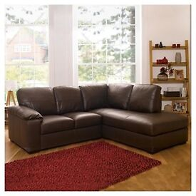 Next brown right hand corner leather sofa