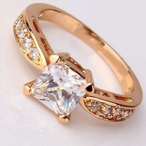 Ladies 18k Yellow Gold Filled White Topaz Ring Size 6 - New