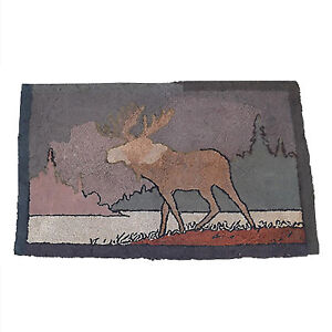 Hooked Bluenose Rug of a Moose