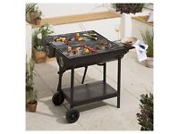 NEW Tesco Double Sided Oil Drum BBQ Charcoal Barbecue - Black
