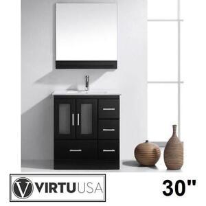"NEW* VIRTU USA 30"" VANITY COMBO - 128338829 - ZOLA ESPRESSO CABINET WHITE TOP SHELF MIRROR VANITIES BATH BATHROOM CAB..."
