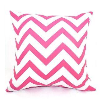 NEW Pink & White Cotton Zigzag Chevron Square Cushion Cover. Exc Cond