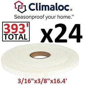 NEW 24 WEATHER STRIPPING TAPE ROLLS CF12001 262024260 CLIMALOC OPEN CELL FOAM 3/16 X 3/8 X 16.4