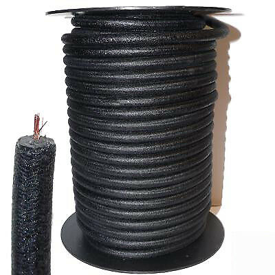 9mm HT Ignition Lead Cable - Wire Core Cotton Braided Black Satin Veteran