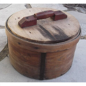Antique wooden cheese box with lid