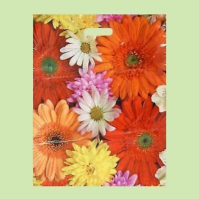 Pack of 50 ECO Flower-Printed Plastic Gift/Shopping/Carrier Bags 40x50 cm