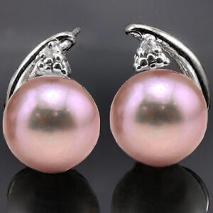 NEW PINK PEARL & DIAMOND EARRINGS CRAFTED IN STERLING / PLA