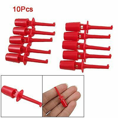 Red Multimeter Lead Wire Test Hooks Clip Set 10 Pcs HY