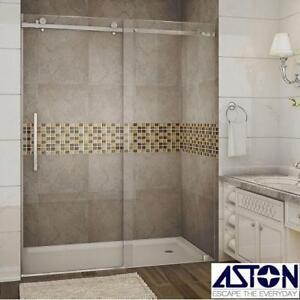 "NEW ASTON MOSELLE SHOWER ENCLOSURE - 133515720 - 60"" x 75"" CHROME SLIDING CLEAR GLASS SHOWERS ENCLOSURES BATH BATHROO..."