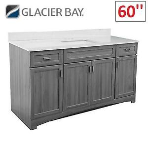NEW* GLACIER BAY BATHROOM VANITY ROCVGYS6122D 219560628 60'' ROCARA GREY