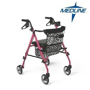 NEW MEDLINE ROLLING WALKER GUARDIAN - POSH PINK ZEBRA PRINT 107474629