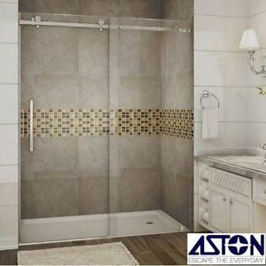 "NEW ASTON MOSELLE SHOWER ENCLOSURE - 133515720 - 60"" x 75"" CHROME SLIDING CLEAR GLASS SHOWERS ENCLOSURES BATH BATHROO..."