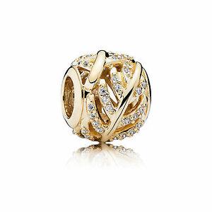 14k  gold Pandora Shimmering Feather Charm